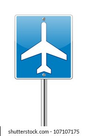 Airport traffic label glossy sign on white