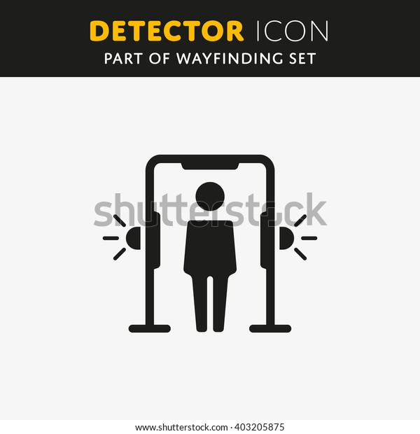 Airport transport security. Metal detector arch, full body scanner. icon.