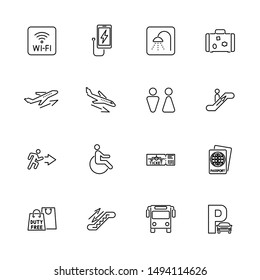 Airport, Traveler outline icons set - Black symbol on white background. Airport, Traveler Simple Illustration Symbol - lined simplicity Sign. Flat Vector thin line Icon - editable stroke