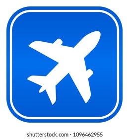 Airport vector blue sign on white background