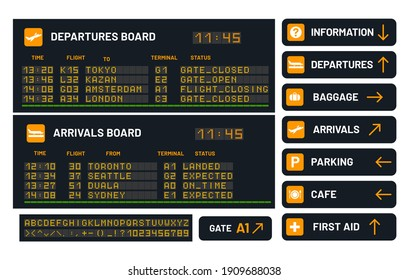 Airport vector board for announcing flight. Departure boards with signs for information and baggage, parking and cafe, first aid symbols. Timetable for air journey or boarding schedule. Terminal