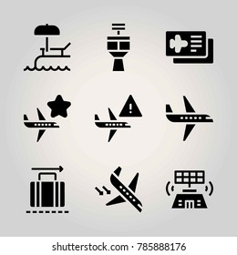 Airport vector icon net. luggage, plane, arrival and airport