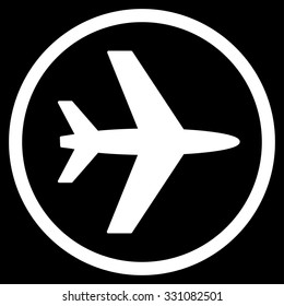 Airport vector icon. Style is flat white symbol, rounded angles, black background.