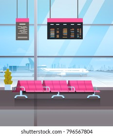 Airport Waiting Hall Departure Lounge Terminal Interior Check In Flat Vector Illustration