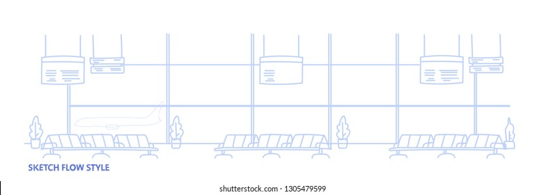 airport waiting hall departure terminal interior empty no people sketch flow style horizontal banner