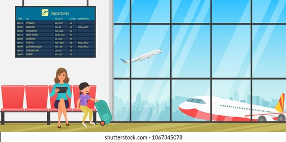 Airport waiting room or departure lounge with chairs, information panels and people. Terminal hall with airplanes view.