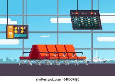 Airport waiting room or departure lounge with chairs, information panels with departures and arrivals schedule. Terminal hall airfield view on airplanes. Flat style vector isolated illustration.