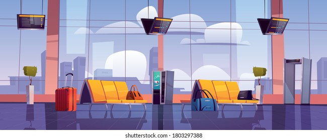 Airport waiting room, empty terminal interior with chairs, luggage, security scanner and schedule display. Departure area with vending machine, seats and metal detector, cartoon vector illustration