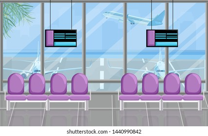 Airport waiting room at the gates with screen Vector flat style. Airplane view. Tourism travel concept background