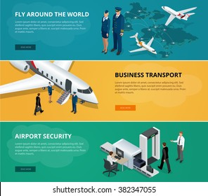 Airport web banner set. Concept  of international private airline. Flying commercial and private personal transport passenger jet. Business transport. Flat 3d isometric vector.