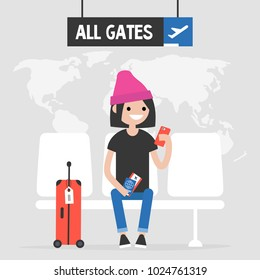 Airport. Young female traveller waiting for a flight. Flat editable vector illustration, clip art