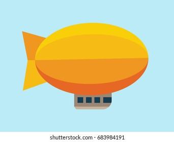 Airship badge in flat style. Dirigible balloon. Travel, trip, adventure concept. Vector illustration Eps10 file