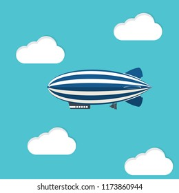 Airship blimp in the blue sky. Retro zeppelin isolated on background. Dirigible balloon. Travel, trip, adventure time concept. Vector illustration. Flat style design