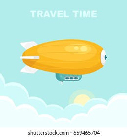 Airship blimp in the blue sky. Retro yellow zeppelin isolated on background. Dirigible balloon. Travel, trip, adventure time concept. Vector illustration. Flat style design