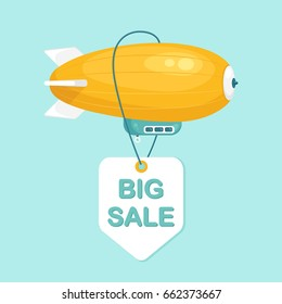Airship blimp in the blue sky with sale tag, label. Retro yellow zeppelin isolated on background. Dirigible balloon. Travel, trip, adventure time concept. Vector illustration. Flat style design