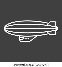 Airship blimp line icon, transport and air vehicle, sky balloon sign vector graphics, a linear pattern on a black background, eps 10.