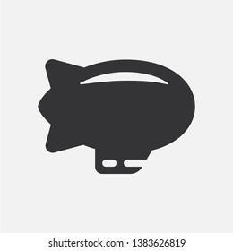 Airship or blimp. Simple flat black and white icon