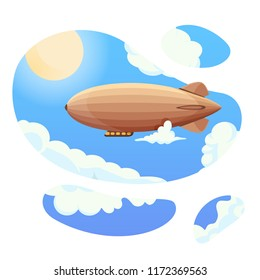 Airship in blue sky and clouds. Vintage airship Zeppelin. Dirigible balloon