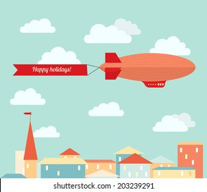 Airship in the cloudy sky, flying over the city. Flat vector illustration.