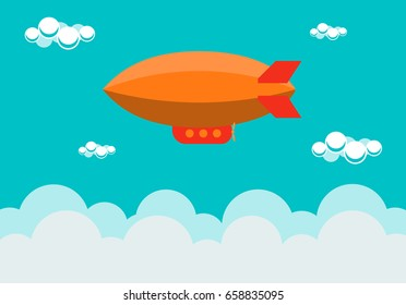 Airship, dirigible, zeppelin or blimp in the sky with clouds flat style vector illustration.