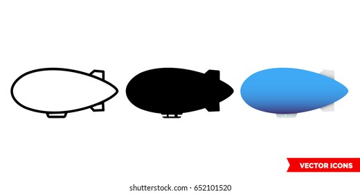 Airship icon of 3 types: color, black and white, outline. Isolated vector sign symbol.