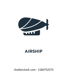 Airship icon. Black filled vector illustration. Airship symbol on white background. Can be used in web and mobile.