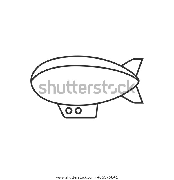 Airship Icon Thin Outline Style Hot Stock Vector (Royalty Free