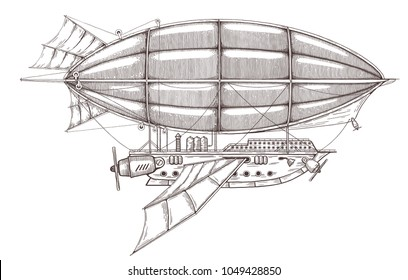 Airship sketch in Steampunk style