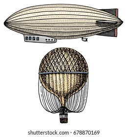 airship or zeppelin and dirigible or blimp, air balloon or aerostat illustration. For travel. engraved hand drawn in old sketch style, vintage transport.