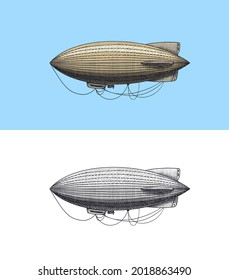 Airship or zeppelin and dirigible or blimp. Engraved hand drawn in old sketch style, vintage transport.