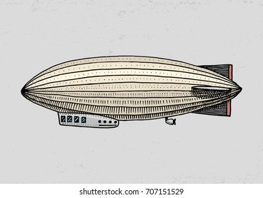 airship or zeppelin and dirigible or blimp. For travel. engraved hand drawn in old sketch style, vintage transport.