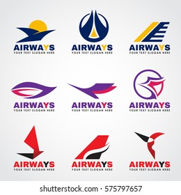 Airway logo (bird and airplane flying) vector set design