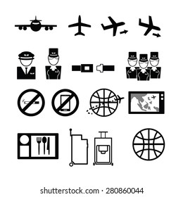 Airways service icons set flat