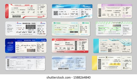 Airways tickets and boarding passes mockups. Vector avia company traveling by plane documents with time of departure and arrival, seat number and date. Avia boarding pass with QR2 or barcode symbol