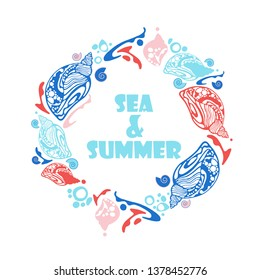 Airy and summer wreath of shells and sea bubbles in fresh blue and coral colors, with text