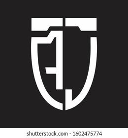 AJ Abstract logo monogram with emblem style isolated on black background
