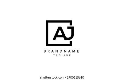 AJ Alphabet Letters Initial Square Icon Logo