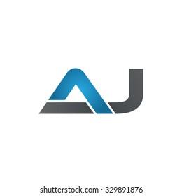 AJ company linked letter logo blue