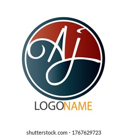 "AJ. Initial letter logo ""A"". ""AJ"" logo design. typography letter ""AJ"" inside the circle on the white background."