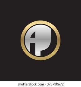 AJ initial letters circle elegant logo golden silver black background