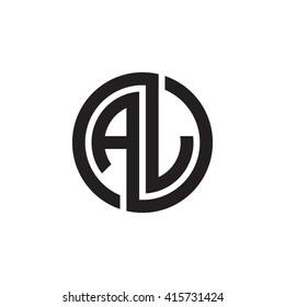 AJ initial letters linked circle monogram logo