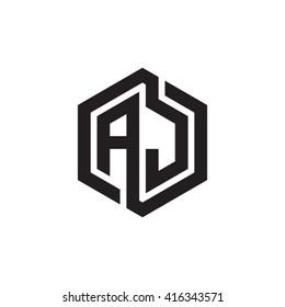 AJ initial letters loop linked hexagon monogram logo