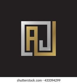 AJ initial letters looping linked square elegant logo golden silver black background