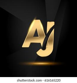 AJ initial letters Swoosh shiny elegant logo golden chrome black background - stock vector
