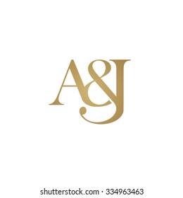 A&J Initial logo. Ampersand monogram logo gold