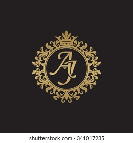 AJ initial luxury ornament monogram logo