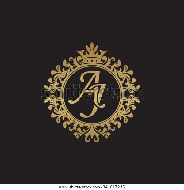 Aj Initial Luxury Ornament Monogram Logo Stock Vector
