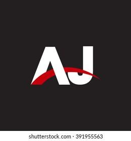 AJ initial overlapping swoosh letter logo white red black background