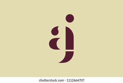 aj ja a j Lowercase Letter Initial Logo Design Template Vector Illustration