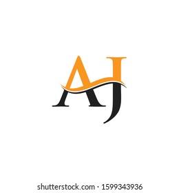 AJ Letter Logo With Creative Modern Wave Typography Vector Template. Creative Alphabetical AJ Logo Design.